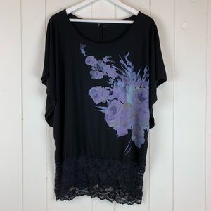 Maurices XL Blouse Floral Lace Batwing Sleeves